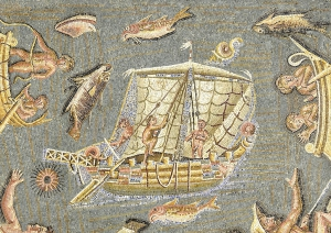 Port Scene (detail), A.D. 1-300, North Africa, stone and glass. Courtesy of the Ferrell Collection
